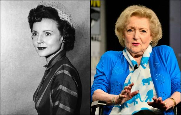 Betty White em 1955, quando tinha 33 anos, e hoje, aos 92, arrasando também como comediante. (Foto: Getty Images)