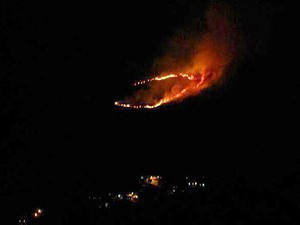 Incêndio atinge área de mata em Ilhabela. (Foto: Divulgação/Corpo de Bombeiros de SP)
