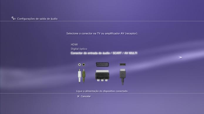 Configuração de Conector de entrada de áudio /SCART/AV MULTI (Foto: Divulgação).