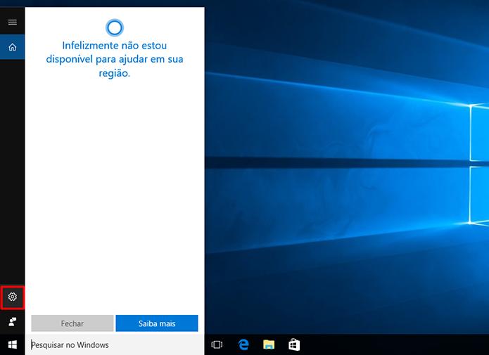 Clique na configuração da Cortana para reativá-la após mudança de região do Windows 10 (Foto: Reprodução/Elson de Souza)