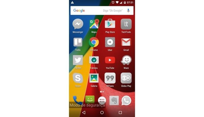 Android em modo de segurança (Foto: Reprodução/Raquel Freire)