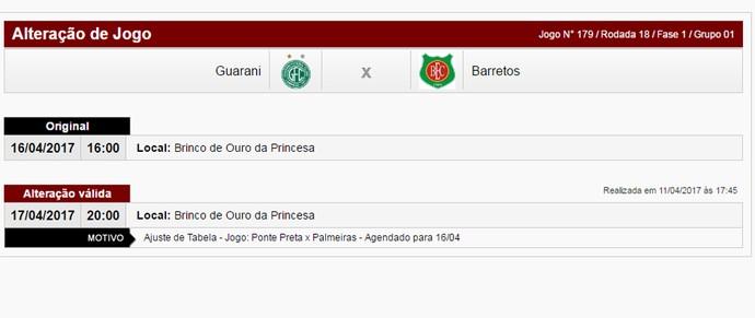 Guarani x Barretos - alteração tabela Série A2 (Foto: Reprodução)