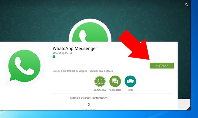 Instale o WhatsApp no emulador (Foto: Reprodução/Paulo Alves)