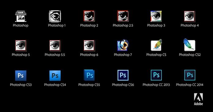 Versões do Photoshop desde sua origem até a mais atual (Foto: Divulgação/Adobe)