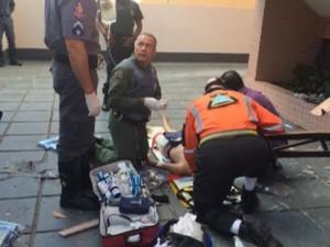 Menino de 10 anos é socorrido após queda do décimo andar em Campinas (Foto: Reprodução/ EPTV)