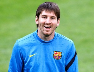 Messi no treino do Barcelona (Foto: AP)