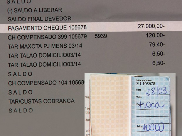 O mesmo cheque emitido no valor de R$ 100 foi descontado no valor de R$ 27 mil, em Franca, SP (Foto: Reprodução/EPTV)