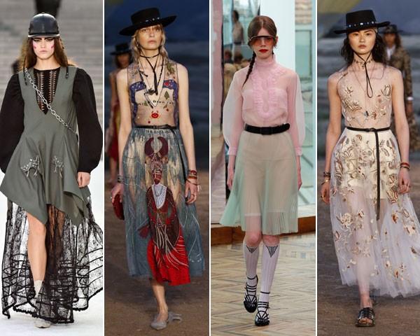 Da esq à dir., a transparência em ação nos looks da Louis Vuitton, Dior, Prada e Dior (Foto: divulgação)