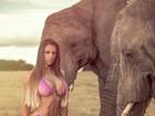 Carol Saraiva posa de biquíni entre elefantes na África