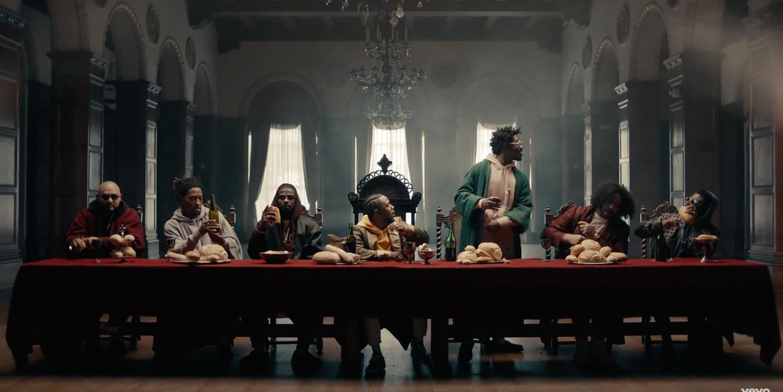 Kendrick recria a Santa Ceia no clipe de 'Humble' (Foto: Divulgao)