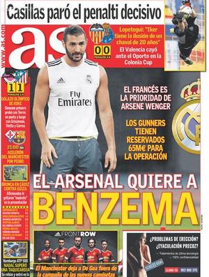 Jornal As Benzema Arsenal (Foto: Reprodução / AS)