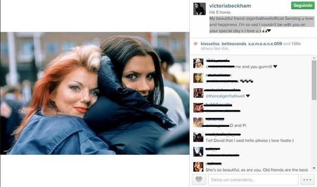 Victoria Beckham faz homenagem a ex-Spice Girl Geri Halliwell, que se casou na igreja com Christian Horner, da F-1 (Foto: Reprodução do Instagram)
