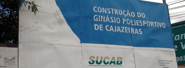 Obras do Ginásio de Cajazeiras, em Salvador (Foto: Ida Sandes/G1 Bahia)