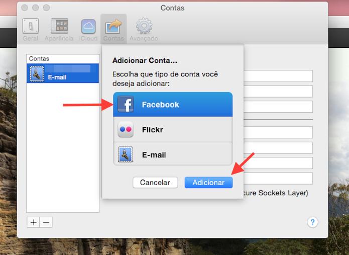 Iniciando o processo para vincular uma conta do Facebook ao iPhoto (Foto: Reprodução/Marvin Costa)