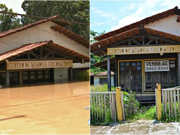 Centro de Memória Chico Mendes, também atingido pela enchente, atualmente, está para venda (Foto: Caio Fulgêncio/G1)