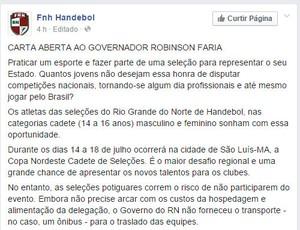 c34f17f6a6110 Federação de handebol cobra ônibus em carta aberta a governador do ...