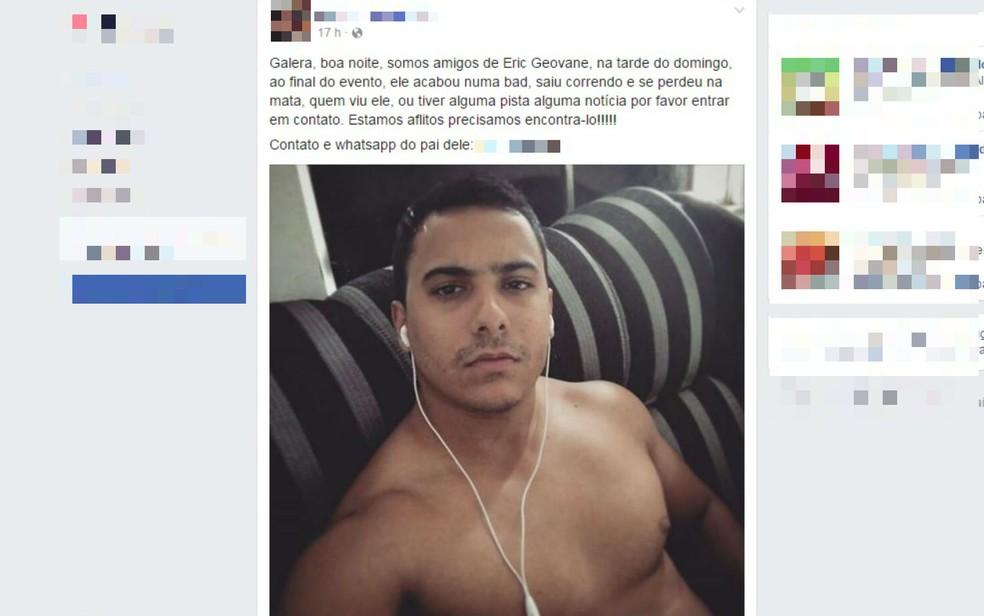 Jovem desapareceu durante festa na Bahia (Foto: Reprodução/Facebook)
