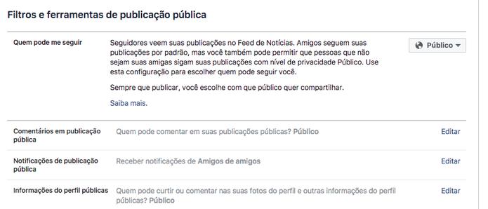 Facebook também permite limitar contato e alcance de posts (Foto: Reprodução/Felipe Vinha)