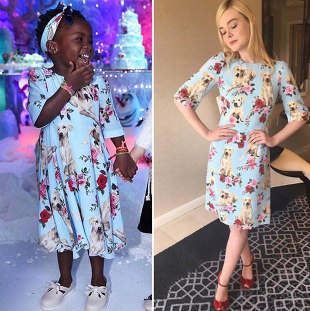 Títi e Elle Fanning usaram looks parecidos (Foto: Reprodução)