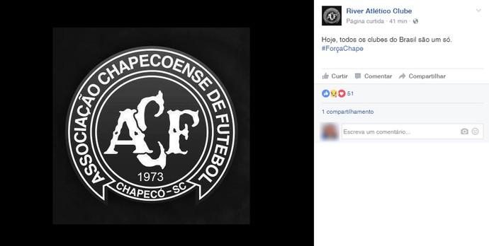 River-PI lamenta acidente Chapecoense (Foto: Reprodução/Facebook)
