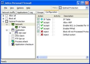 Interface Jetico Personal Firewall