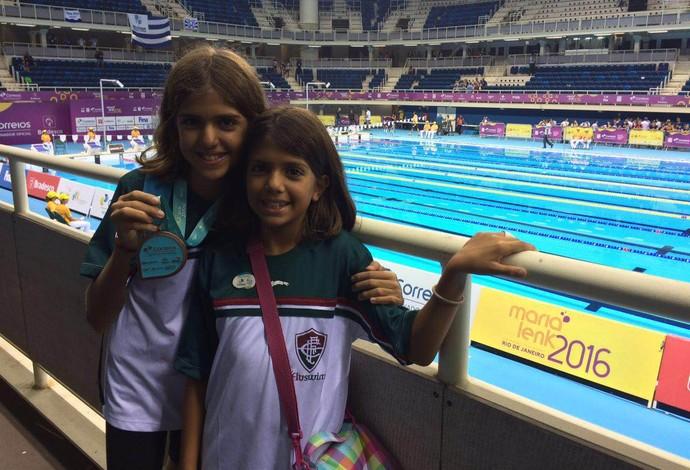 Irmãs medalha Cesar Cielo evento-teste Rio 2016 natação (Foto: Raphael Andriolo)