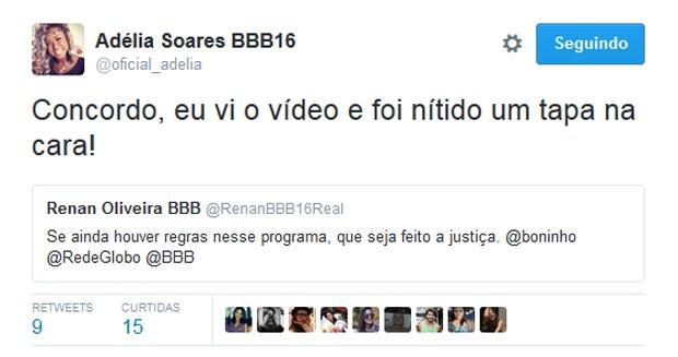 Twitter de Adélia apoia post da família de Renan (Foto: Twitter / Reprodução)