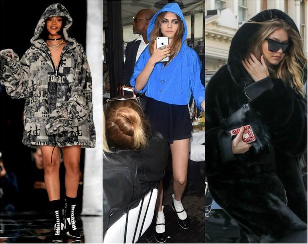 Rihanna, Delevingne e Gigi Hadid usam moletom com capuz (Foto: AKM)