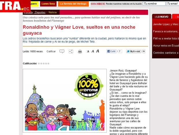 ronaldinho gaúcho vagner love flamengo equador jornal (Foto: Reprodução/Extra.ec)