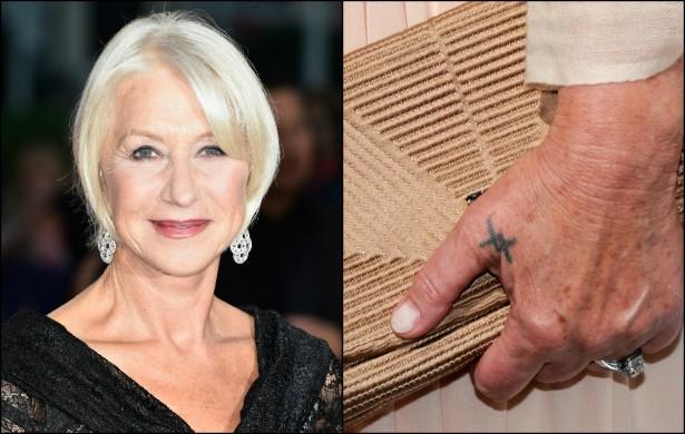 Helen Mirren tem uma pequena tatuagem na mão esquerda. Ela diz que o desenho a recorda de amar o próximo. (Foto: Getty Images)