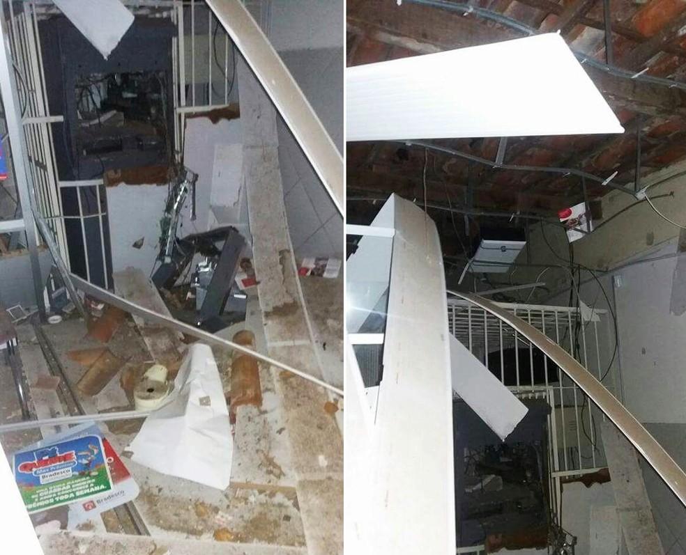Explosão destruiu a agência do Bradesco de Ielmo Marinho, cidade da Grande Natal (Foto: PM/Divulgação)