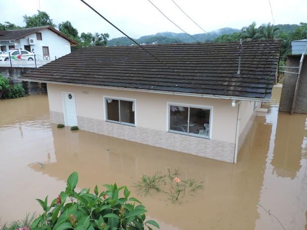 Água invadiu casas e lojas (Foto: Jaime Batista da Silva/Divulgação)