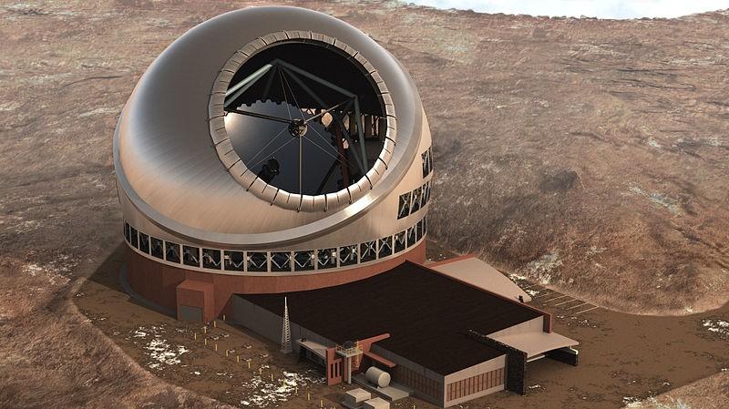 Ilustração mostra como deve ficar o telescópio Trinta Metros, construído próximo a um vulcão do Havaí (Foto: Cortesia/TMT Observatory Corporation)