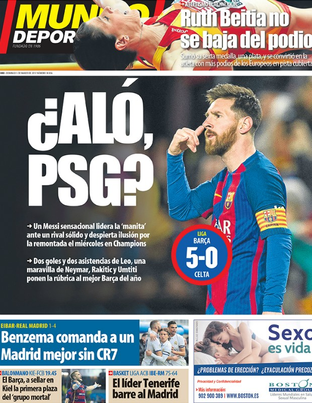 capa mundo deportivo, barcelona x celta
