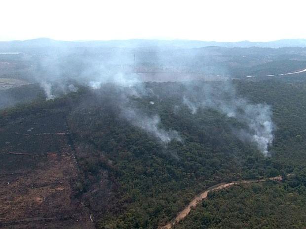 Região da Lagoa Várzea das Flores também é atingida por incêndio neste domingo (28) (Foto: Reprodução / TV Globo)