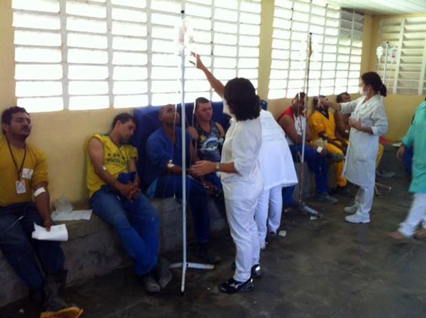 Trabalhadores do Arena das Dunas passaram mal (Foto: Fred Carvalho/G1)