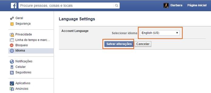 Altere o idioma para Inglês dos Estados Unidos no Facebook (Foto: Reprodução/Barbara Mannara)