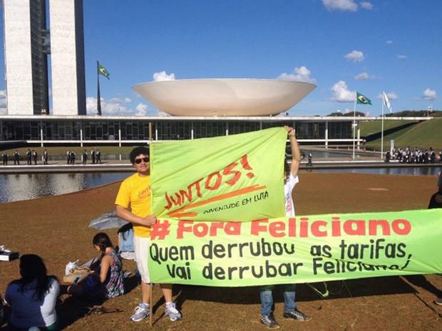 Protesto em Brasília contra o deputado Feliciano (Foto: Isaura Borba/G1)