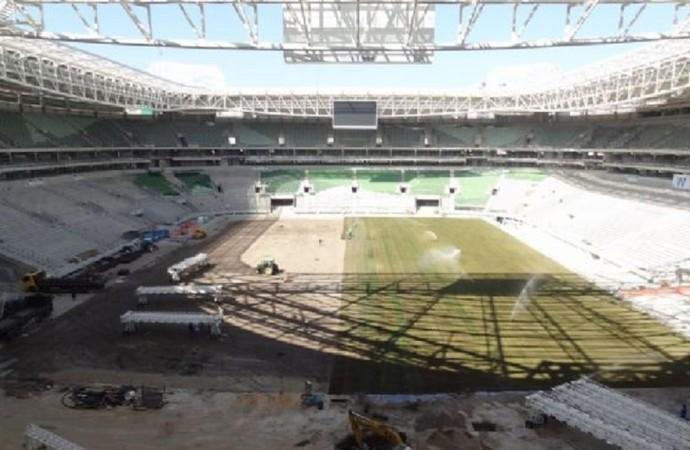Allianz Parque já recebe o gramado para as partidas de futebol (Foto: Thiago Fatichi/Divulgação)