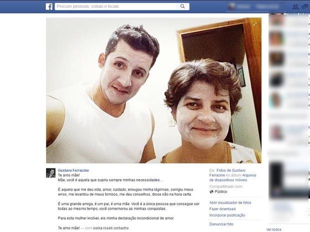 Em publicação na internet, suspeito faz declaração de amor para a mãe (Foto: Reprodução/Facebook)