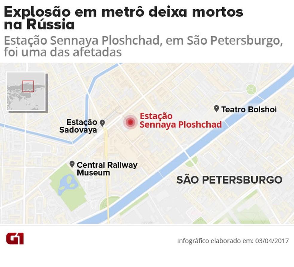 Explosão em metrô deixa mortos na Rússia (Foto: Arte/G1)
