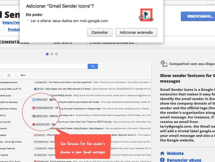 Saiba usar a extensão Sender Icons no Gmail (Foto: Reprodução/Felipe Vinha)