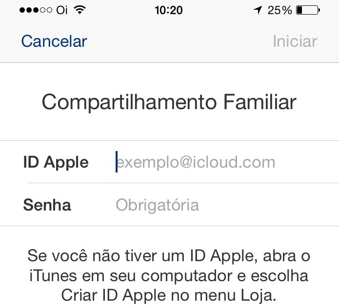 Inserindo os dados da ID Apple para ativar o recurso (Foto: Reprodução/Edivaldo Brito)