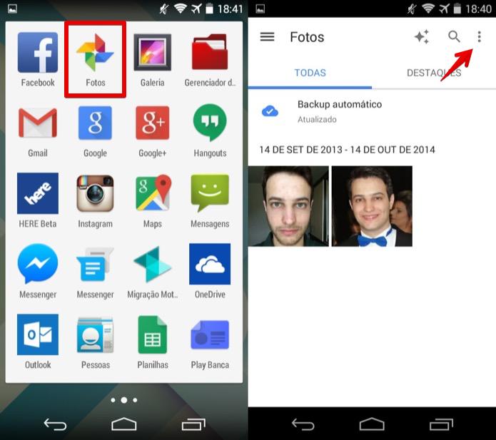 Abra o aplicativo de Fotos e acesse o menu (Foto: Reprodução/Helito Bijora)