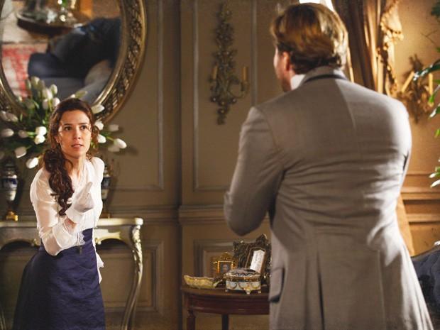 Laura manda Edgar embora de casa (Foto: Lado a Lado/Tv Globo)