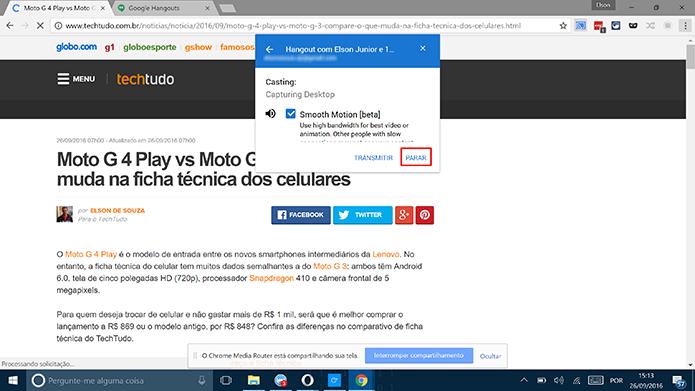 Toque em parar para que o Google Cast interrompa transmissão de janela do Chrome no Hangouts (Foto: Reprodução/Elson de Souza)