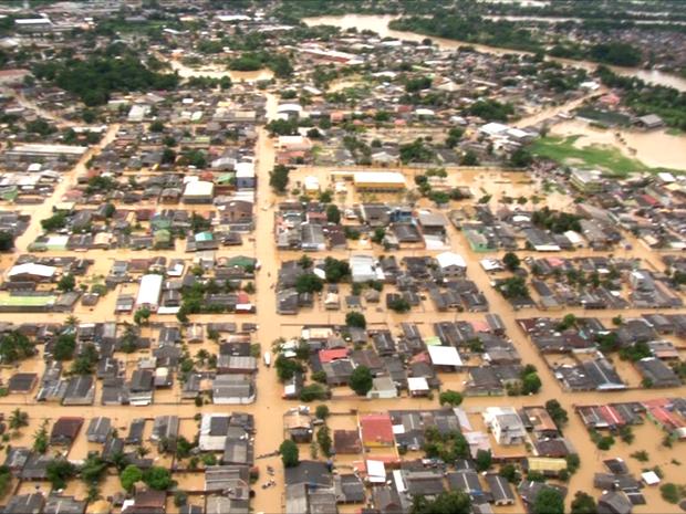 Cheia do Rio Acre atinge mais de 86 mil pessoas em Rio Branco (Foto: Secom Acre)