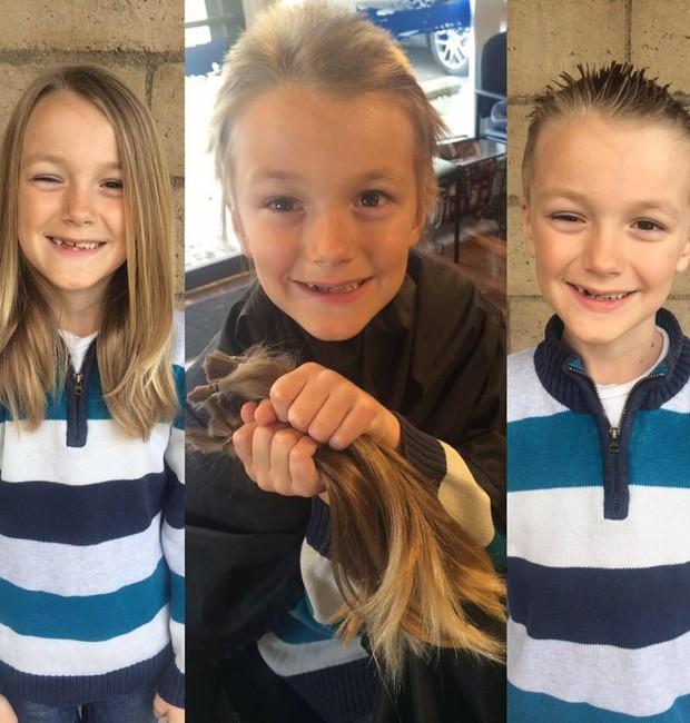Vicent antes de doar seus cabelos, no momento do corte e depois (Foto: Reprodução - Facebook)