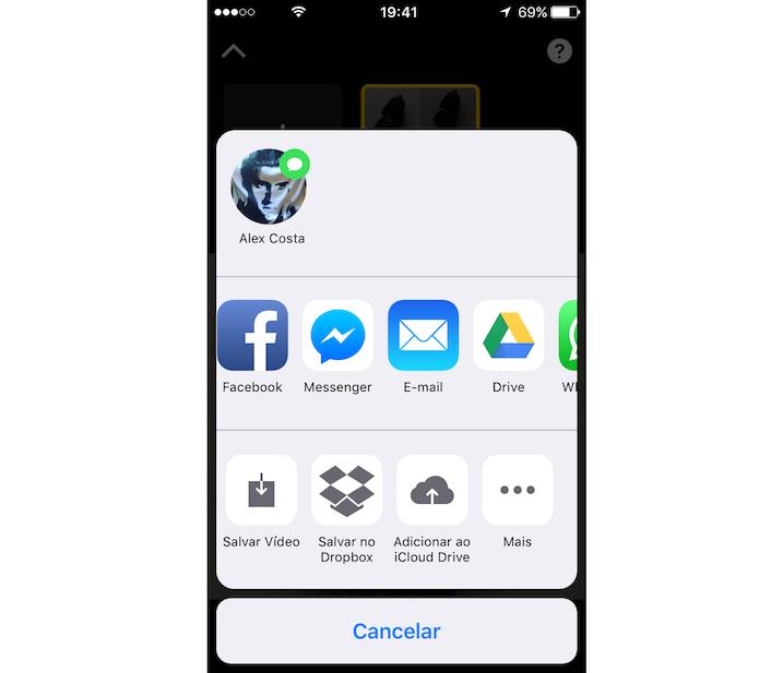 Tela que permite salvar e compartilhar um vídeo criado com o Apple Clips (Foto: Reprodução/Marvin Costa)