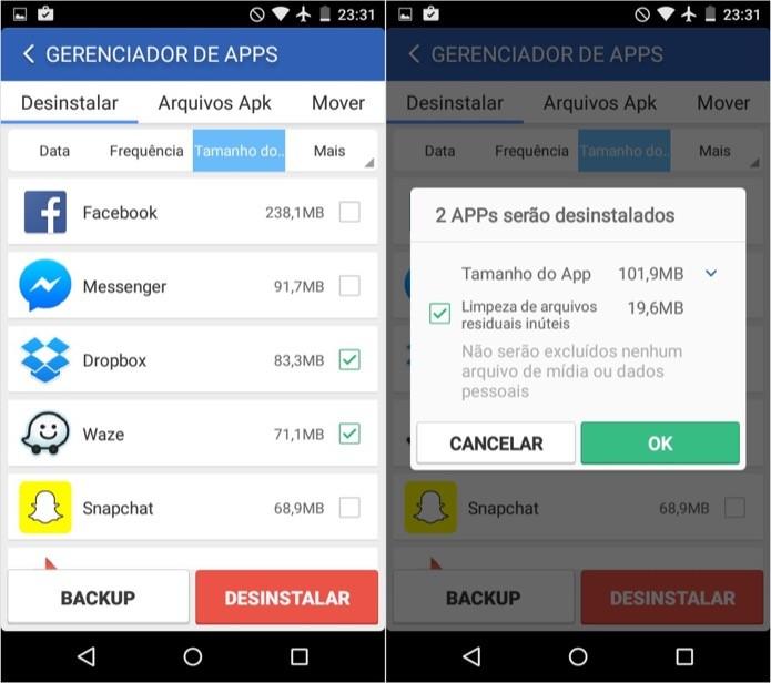 Selecione os aplicativos que você quer desinstalar (Foto: Reprodução/Helito Bijora)